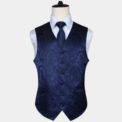 Mens Navy Blue Paisley Vest Set
