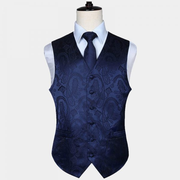 Mens Navy Blue Paisley Vest Set