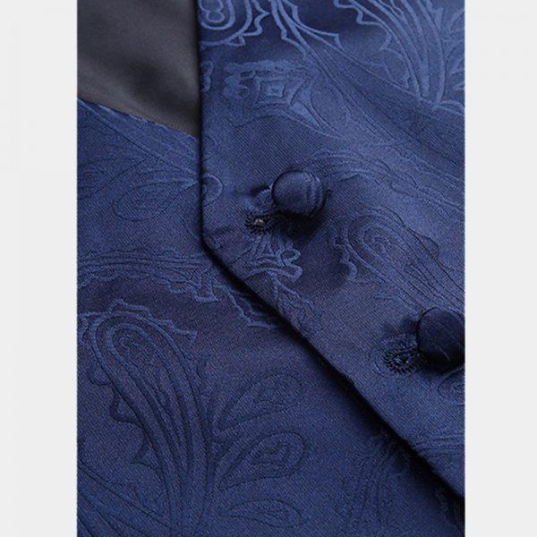Mens Navy Blue Paisley Vest