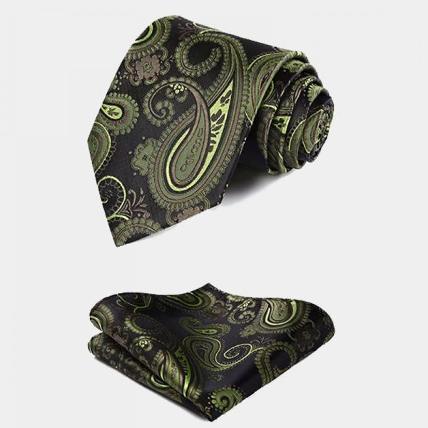 Mens Olive Green Paisley Necktie And Pocket Square Set