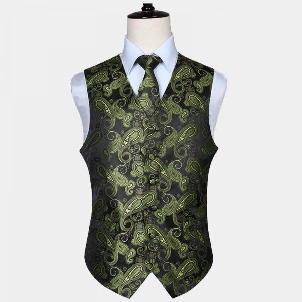 Mens Olive Green Paisley Vest Set