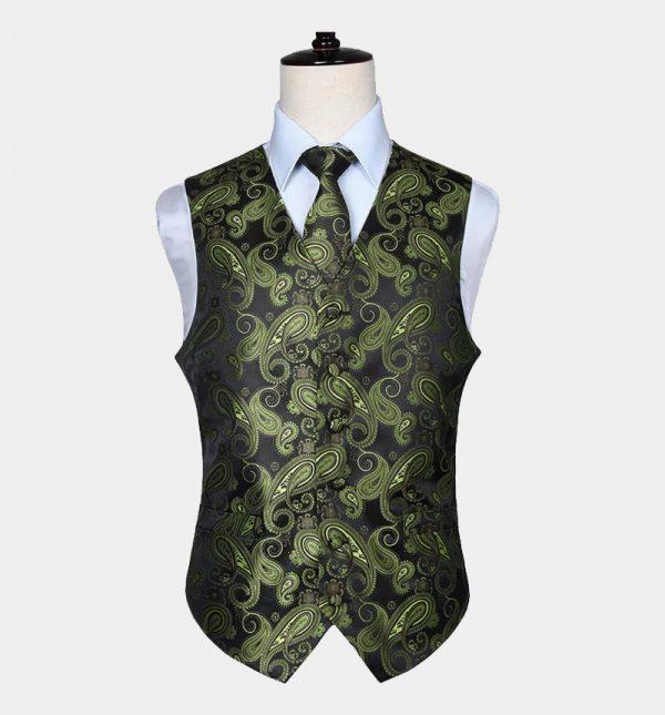 Mens Olive Green Paisley Vest Set