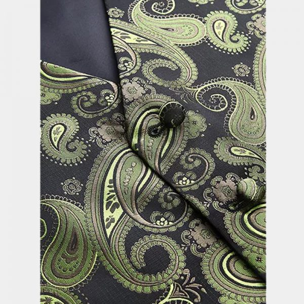 Mens Olive Green Paisley Vest