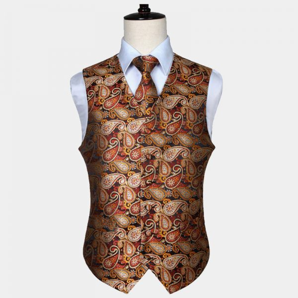 Mens Orange Paisley Vest Set