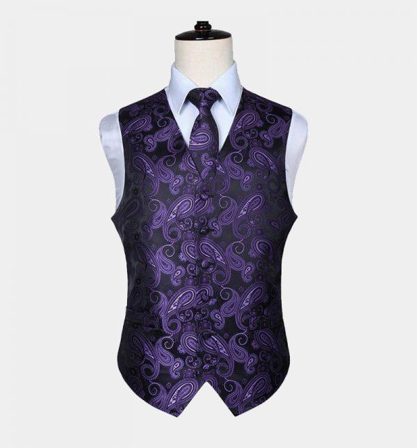 Mens Purple Paisley Vest and Tie Set