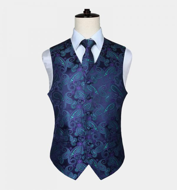Mens Purple and Turquoise Paisley Vest Set