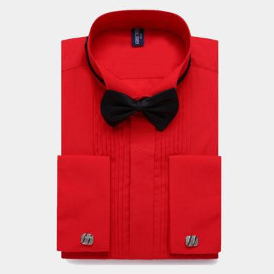 Mens Red French Cuff Tuxedo Shirt from Gentlemansguru.com