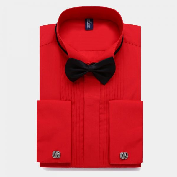 Mens Red French Cuff Tuxedo Shirt from Gentlemansguru.com
