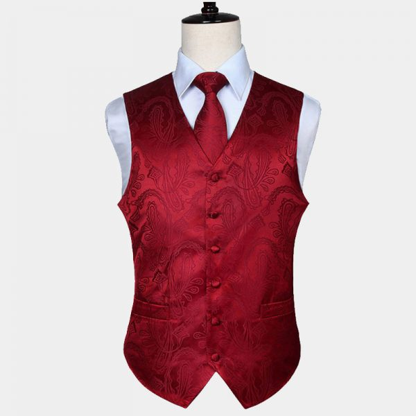 Mens Red Paisley Vest Set