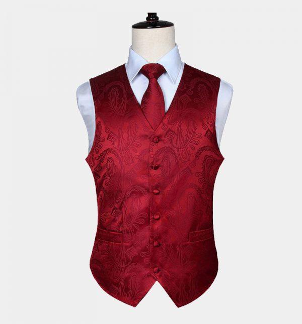 Mens Red Paisley Vest Set