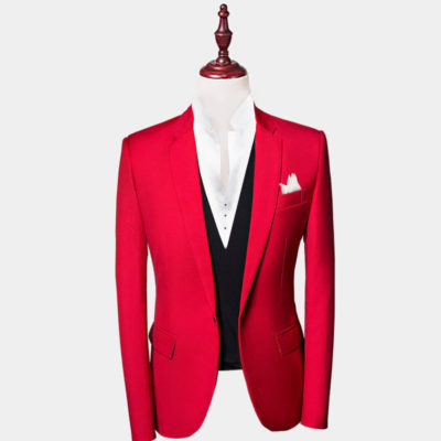 Mens Red Suit Jacket Slim Fit