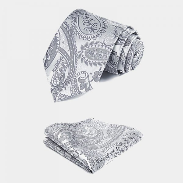 Mens Silver Paisley Necktie And Pocket Square Set