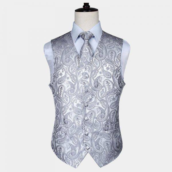 Mens Silver Paisley Vest And Tie Set