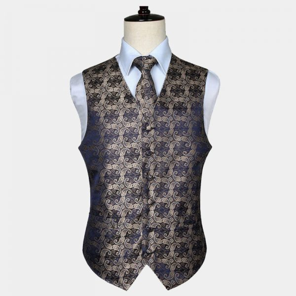 Mens Tan Paisley Vest And Tie Set