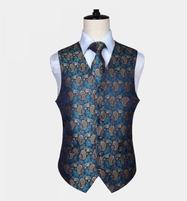 Mens Teal Blue Paisley Vest And Tie Set