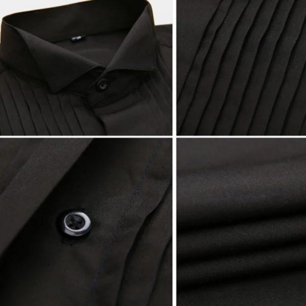 Men's Wedding Black French Cuff Tuxedo Shirt from Gentlemansguru.com