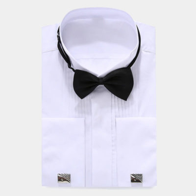 Mens White French Cuff Tuxedo Shirt from Gentlemansguru.com