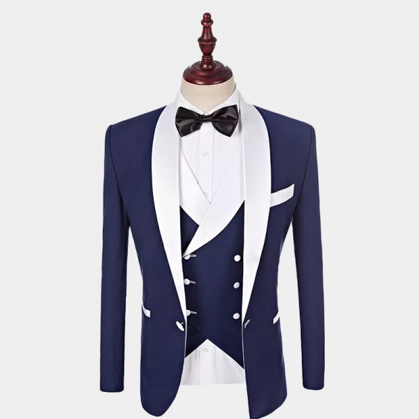 Mens White Trim Navy Blue Tuxedo from Gentlemansguru.com