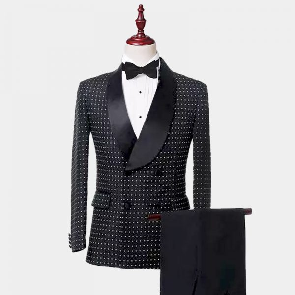 Mens Double-Breasted Black Polka Dot Tuxedo from Gentlemansguru.com