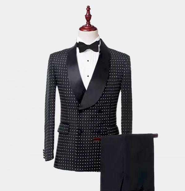 Mens Double-Breasted Black Polka Dot Tuxedo from Gentlemansguru.com