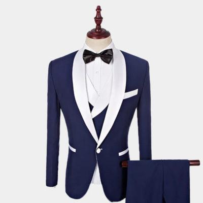 Navy Blue And White Tuxedo Suit from Gentlemansguru.com