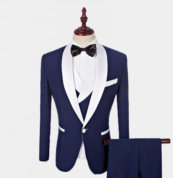 Navy Blue And White Tuxedo Suit from Gentlemansguru.com
