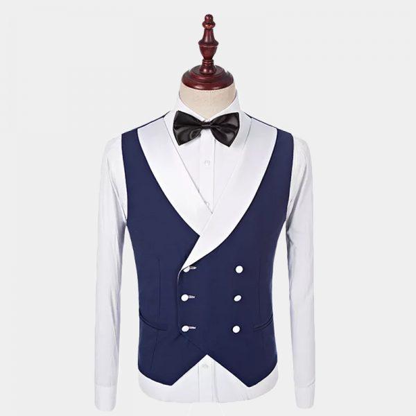 Navy Blue Tuxedo Vest With With Trim from Gentlemansguru.com