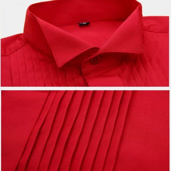Slim Fit Red French Cuff Tuxedo Shirt from Gentlemansguru.com
