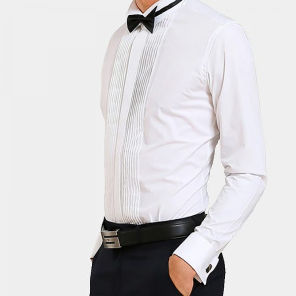 Slim Fit White French Cuff Tuxedo Shirt from Gentlemansguru.com