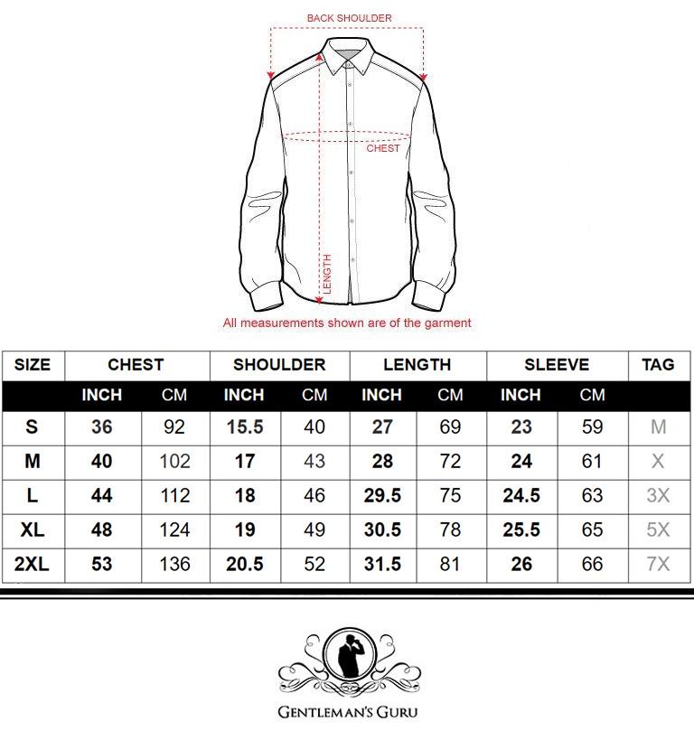 Tuxedo Shirt Size Chart