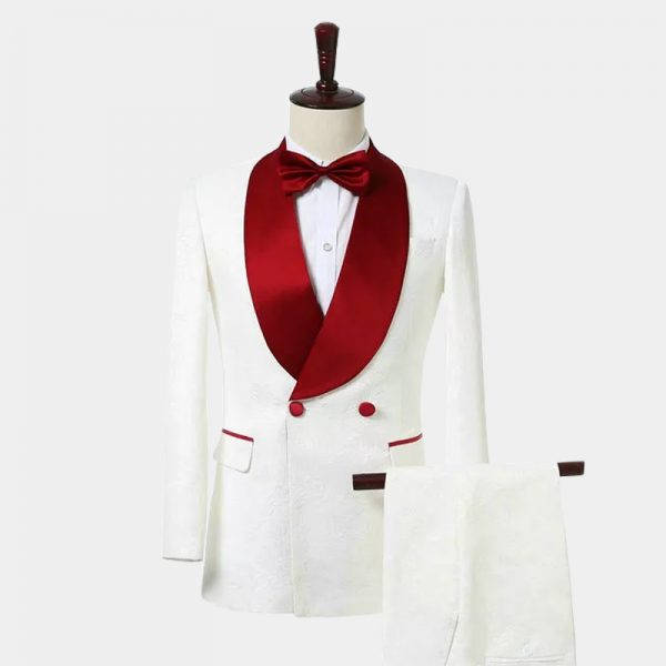 Mens White and Red Tuxedo For Prom and Wedding from Gentlemansguru.com
