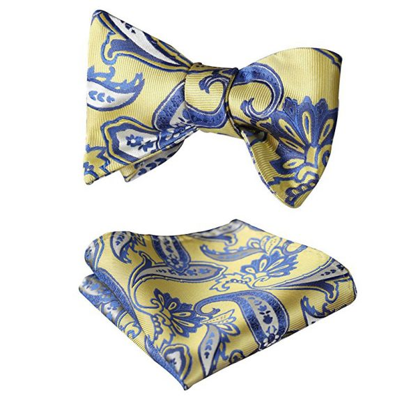 Yellow And Blue Paisley Bow Tie Set