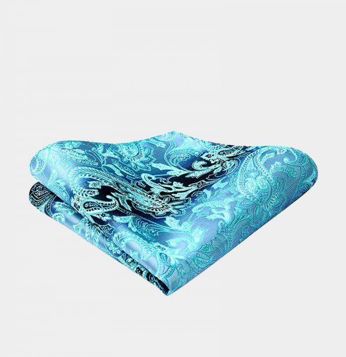 Aqua Blue Paisley Pocket-Square-Handkerchief from Gentlemansguru.com