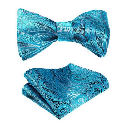 Baby Blue Paisley Bow Tie Set f
