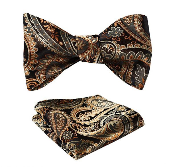 Black And Gold Paisley Bow Tie Set