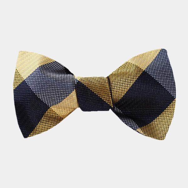 Black And Gold-Plaid Bow Tie Set-from Gentlemansguru.com