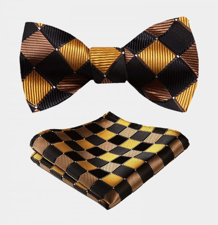 Black And Gold Plaid Bow Tie Set-from Gentlemansguru.com