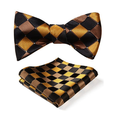 Black And Gold Plaid Bow Tie Set
