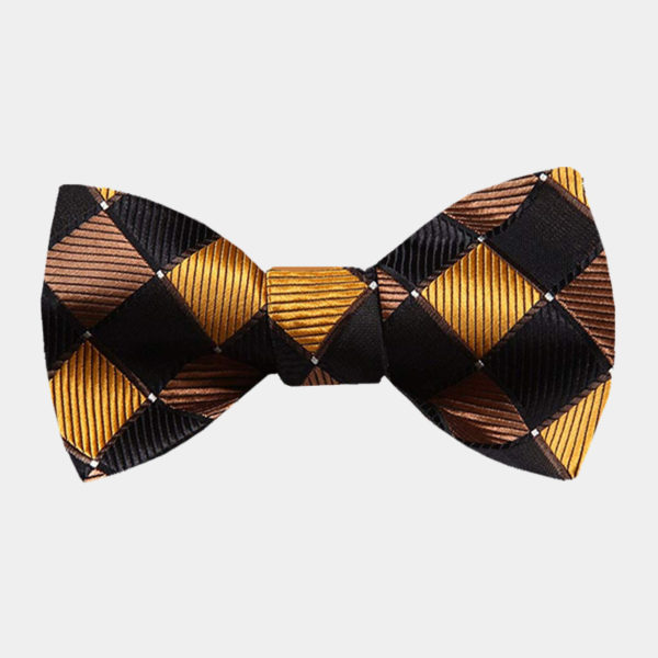 Black And Gold Plaid Bow Tie from Gentlemansguru.com