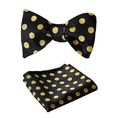 Black And Gold Polka Dot Bow Tie Set