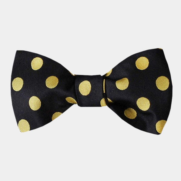 Black And Gold Polka Dot Bow-Tie from Gentlemansguru.com