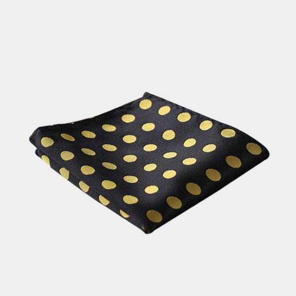 Black And Gold Polka Dot Pocket Square-Handkerchief from Gentlemansguru.com