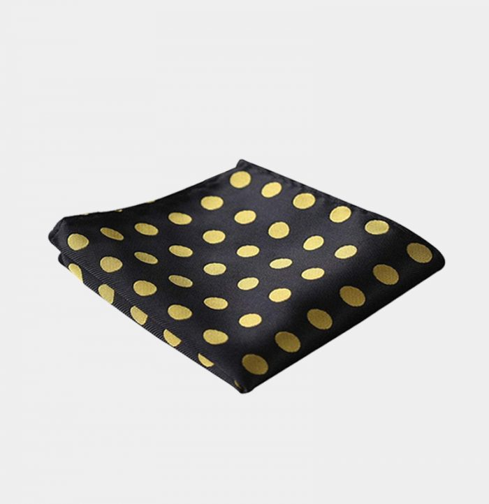 Black And Gold Polka Dot Pocket Square-Handkerchief from Gentlemansguru.com