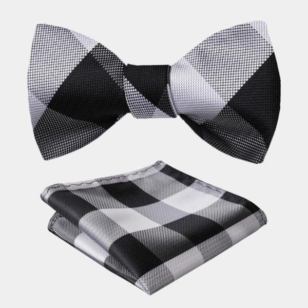 Black And White-Plaid Bow Tie Set-from Gentlemansguru.com