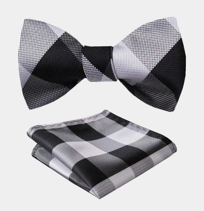 Black And White-Plaid Bow Tie Set-from Gentlemansguru.com