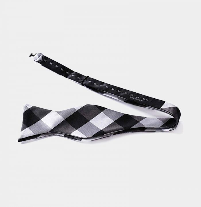 Black And White Plaid Self-Tie Bow Tie from Gentlemansguru.com