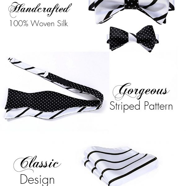 Black And White Striped Bow Tie And Sets