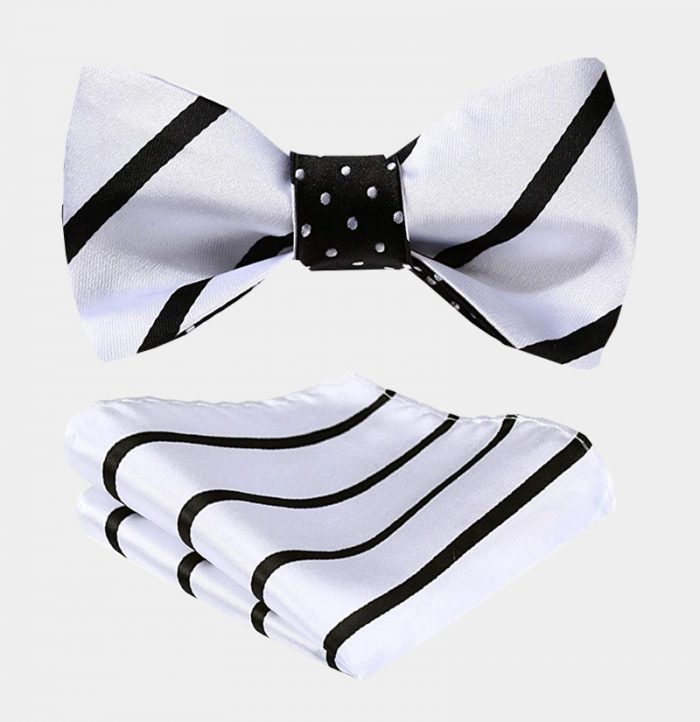 Black And White Striped Bow Tie For Men from Gentlemansguru.com
