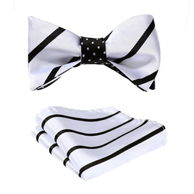 Black And White Striped Bow Tie Set