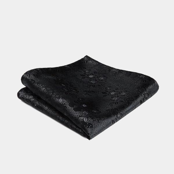 Black Floral Pocket-Square-Handkerchief from Gentlemansguru.com